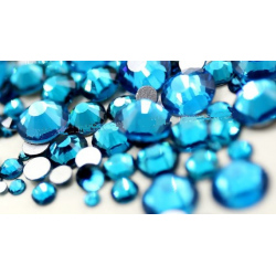 Glass rhinestones PEACOCK BLUE 100pcs
