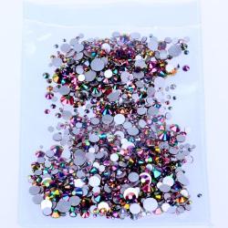 Glass rhinestones Rainbow Gold 100pcs